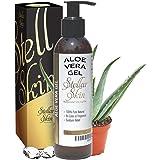 Natural Aloe Vera Gel – Organic, Perfect for Sunburn, Face, Hair, Acne, Razor Bumps, Eczema. Stellar Skin, 6 fl oz