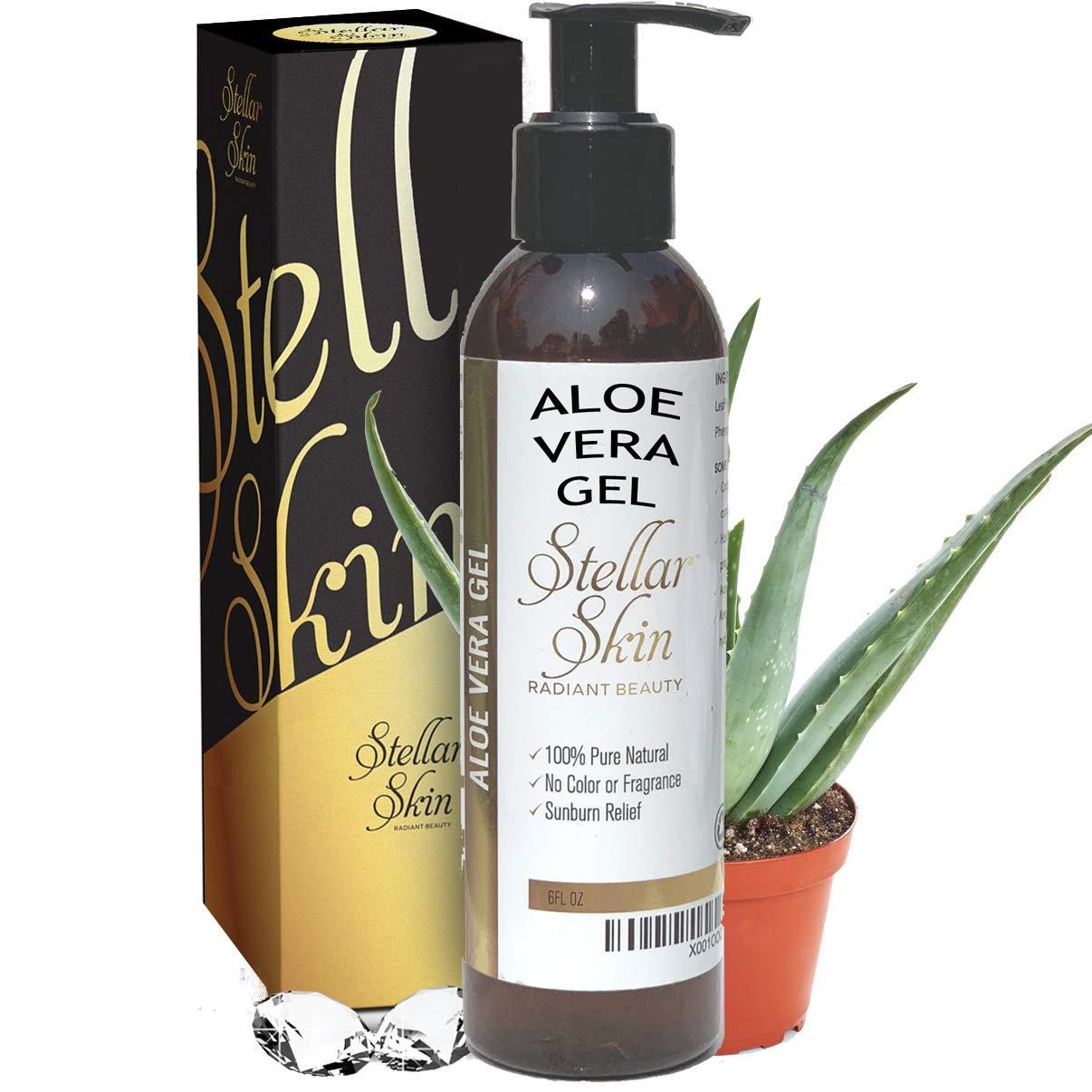 Natural Aloe Vera Gel - Organic, Perfect for Sunburn, Face, Hair, Acne, Razor Bumps, Eczema. Stellar Skin, 6 fl oz by Stellar Skin