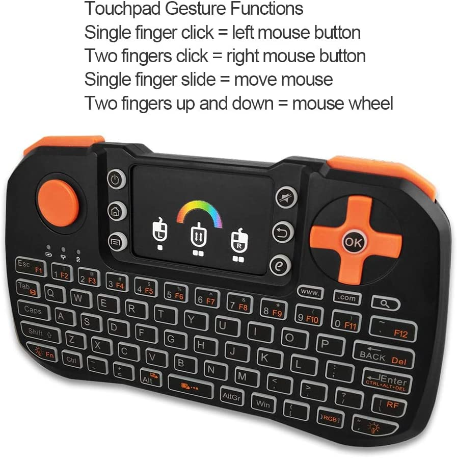 Color: with Li-ion battery Calvas TZ10 2.4GHz Wireless Keyboard Touchpad Mouse Handheld Remote Control with Colorful Backlight for TV Box Smart TV PC Laptop