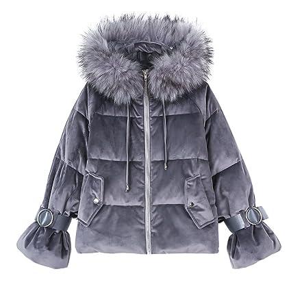 TSINYG Chaqueta con capucha casual de la moda de las mujeres Abrigos cortos de la espesa