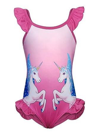 Jurebecia Traje de baño de una Pieza Traje de baño Unicornio para niñas