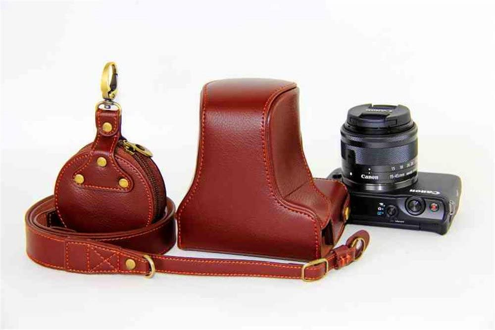 Red Handmade Genuine Camera Half Leather Case Bag Cover for Canon EOS M10
