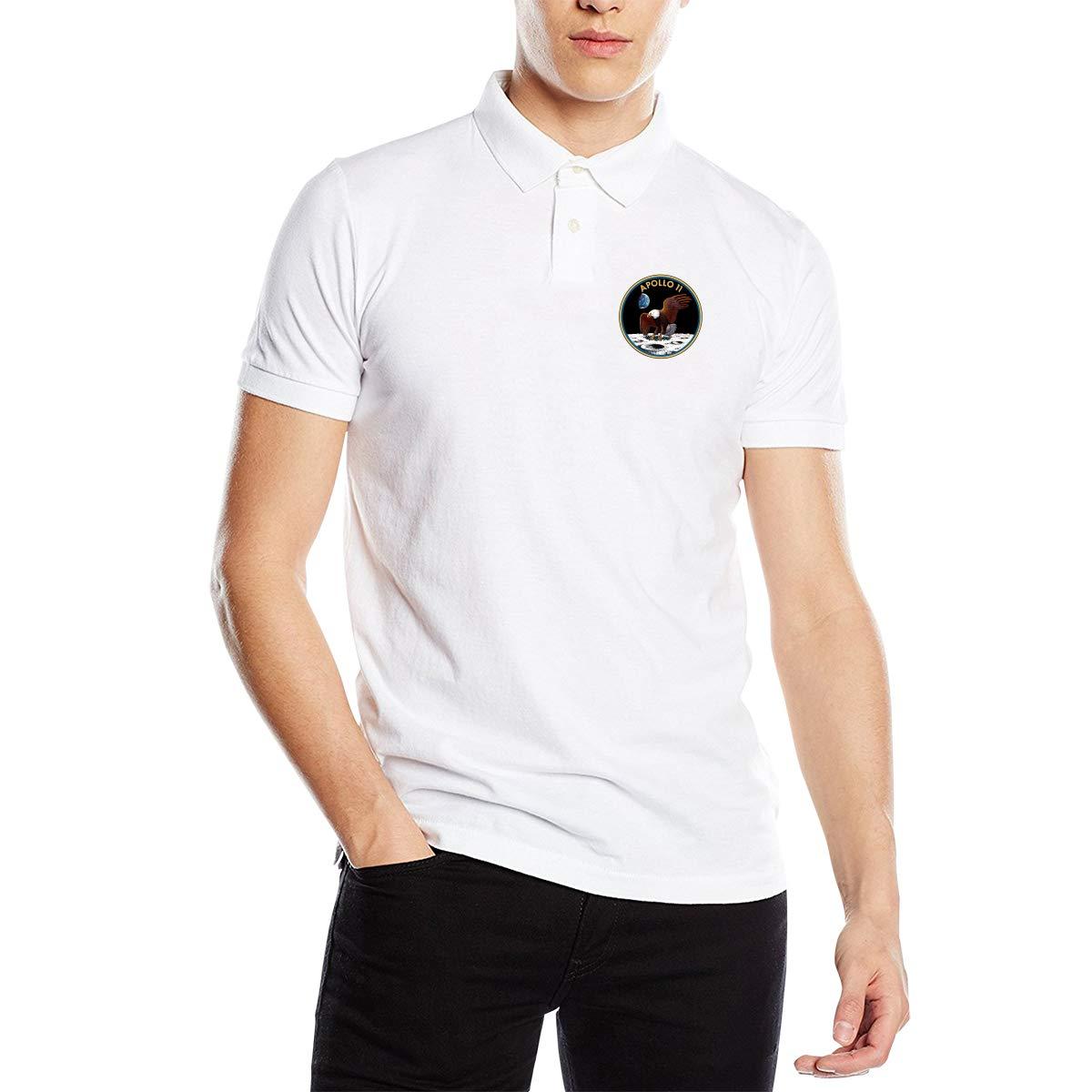 YONG-SHOP Apollo 11 Mens Regular-Fit Cotton Polo Shirt