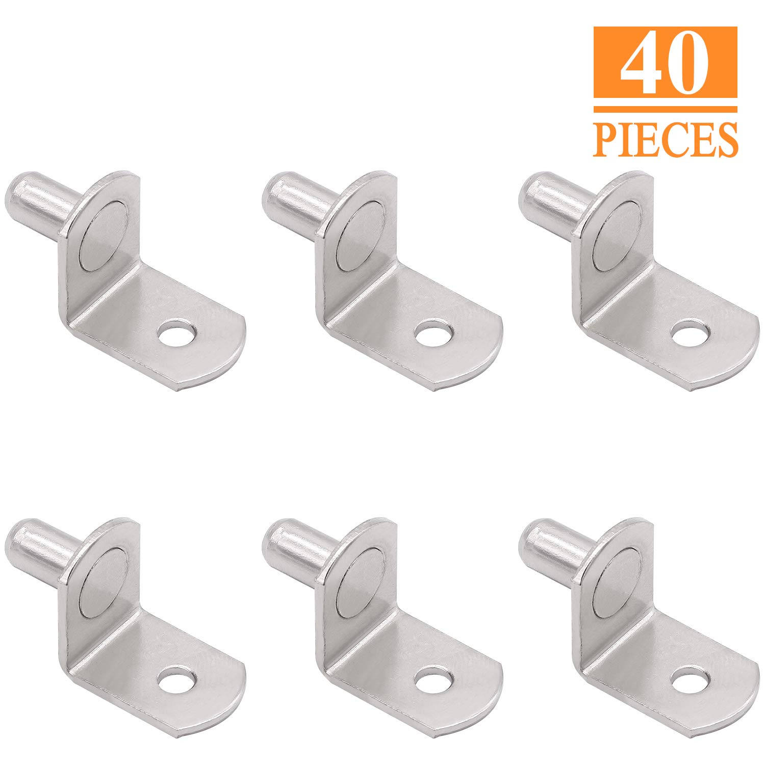 Shelf Bracket Pegs with Hole SELIKOUR 1//4 Shelf Support Polished Zinc Bracket-Style 40PCS L-Shaped Cabinet Furniture Closet Shelf Pins Support