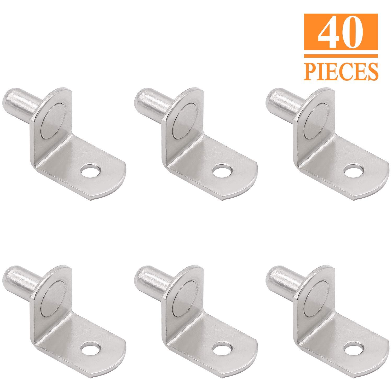 SELIKOUR 1/4'' Shelf Support, Shelf Bracket Pegs with Hole, Bracket-Style, L-Shaped Cabinet Furniture Closet Shelf Pins Support, Polished Zinc, 40PCS