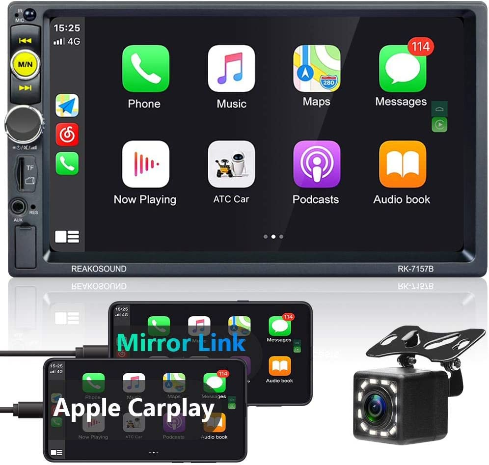 Double Din Stereo Compatible with Apple CarPlay in-Dash Digital Media Player 7 Inch Touch Screen Car Radio with Bluetooth, FM Car Radio, Mirror Link, Backup Camera + External Microphone