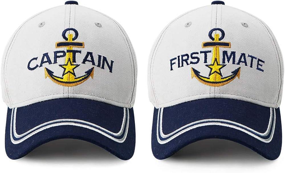 Captain Hat & First Mate | Matching Skipper Boating Baseball Caps | Nautical Marine Sailor Navy Hats