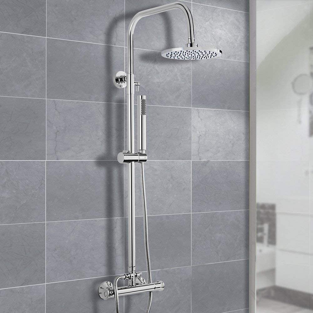 Round Shower Head Wall Mounted Modern Overhead Thermostatic Rainfall Shower System Set