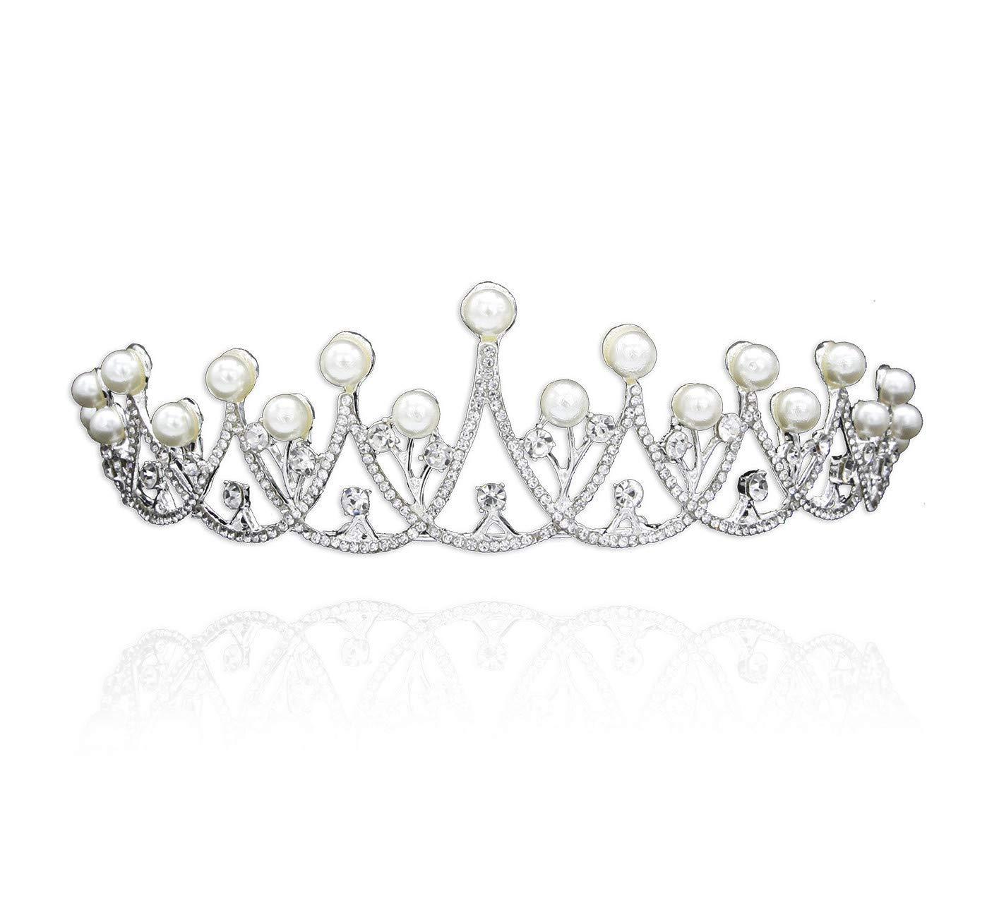 Wedding Crown, Bridal Wedding/Prom Hair Pins/Headdress Accessories/Party/Girls Pearl Diamond Bride Crown Hair Ornament Wedding Bride Accessories Wedding Dress Accessories by Junson (Image #1)