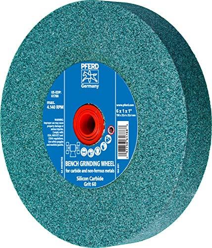 1 Arbor Hole PFERD 61788 Bench Grinding Wheel 4140 Maximum RPM 6 Diameter 1 Thick 1 Arbor Hole PFERD Inc. 60 Grit 1 Thick Silicon Carbide 6 Diameter