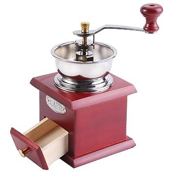 Molinillo de café manual, molinillo de café retro de la mano Molinillo de café molinillo de grano de la máquina con el cajón de la captura(Red Wooden): ...
