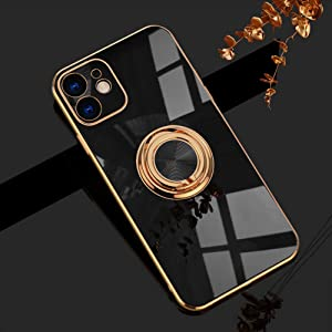 Omorro for Black iPhone 11 Case for Women Ring Holder, Built-in 360 TPU Rotation Kickstand Rings Cases with Stand Glitter Plating Rose Gold Edge Work with Magnetic Mount Slim Sleek Luxury Case Girly