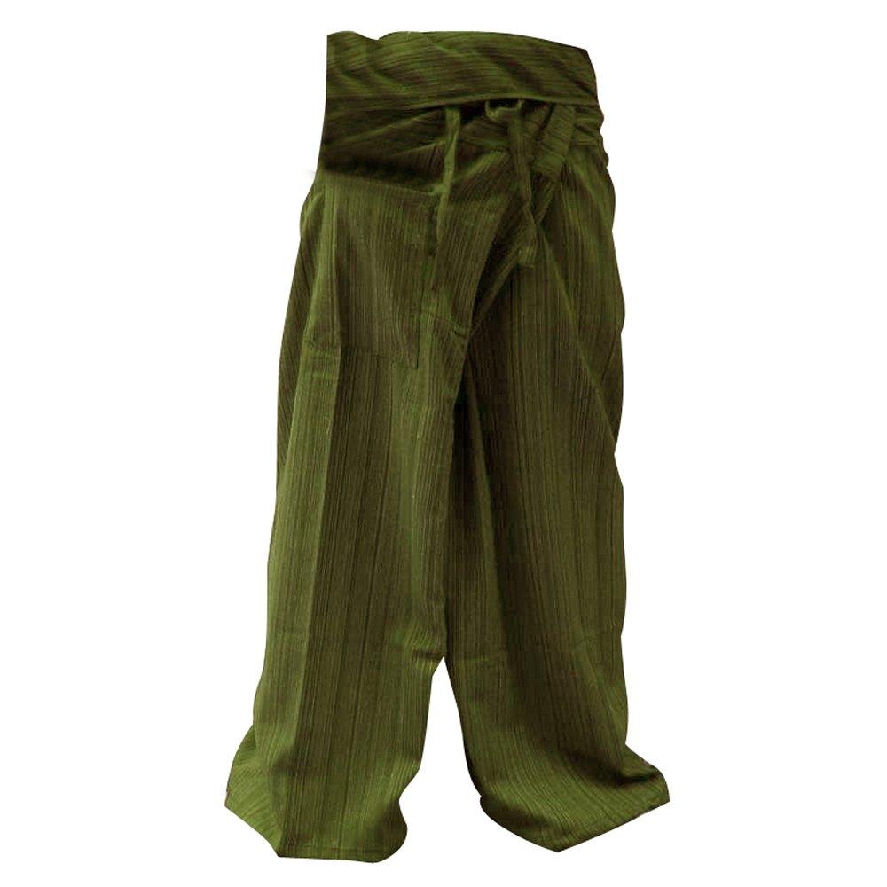 Pescador Pantalones Tailandeses Pantalones Yoga Plus Tamaño TAMAÑO LIBRE Rayón de algodón gris y Banda azul oscuro Thailand