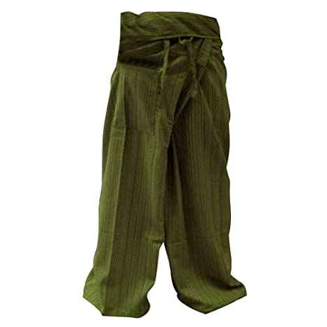 5704f215b1c Image Unavailable. Image not available for. Color  hugde Thai Fisherman  Pants Yoga Trousers Free Size Plus Size Cotton Olive Stripe