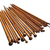 36 Pieces Bamboo Knitting Needles - Wooden Knitting Needles - Single Pointed Crochet Knitting Needles Set Kit Smooth Crochet Tool Needle Arts Craft - Long Knitting Needles