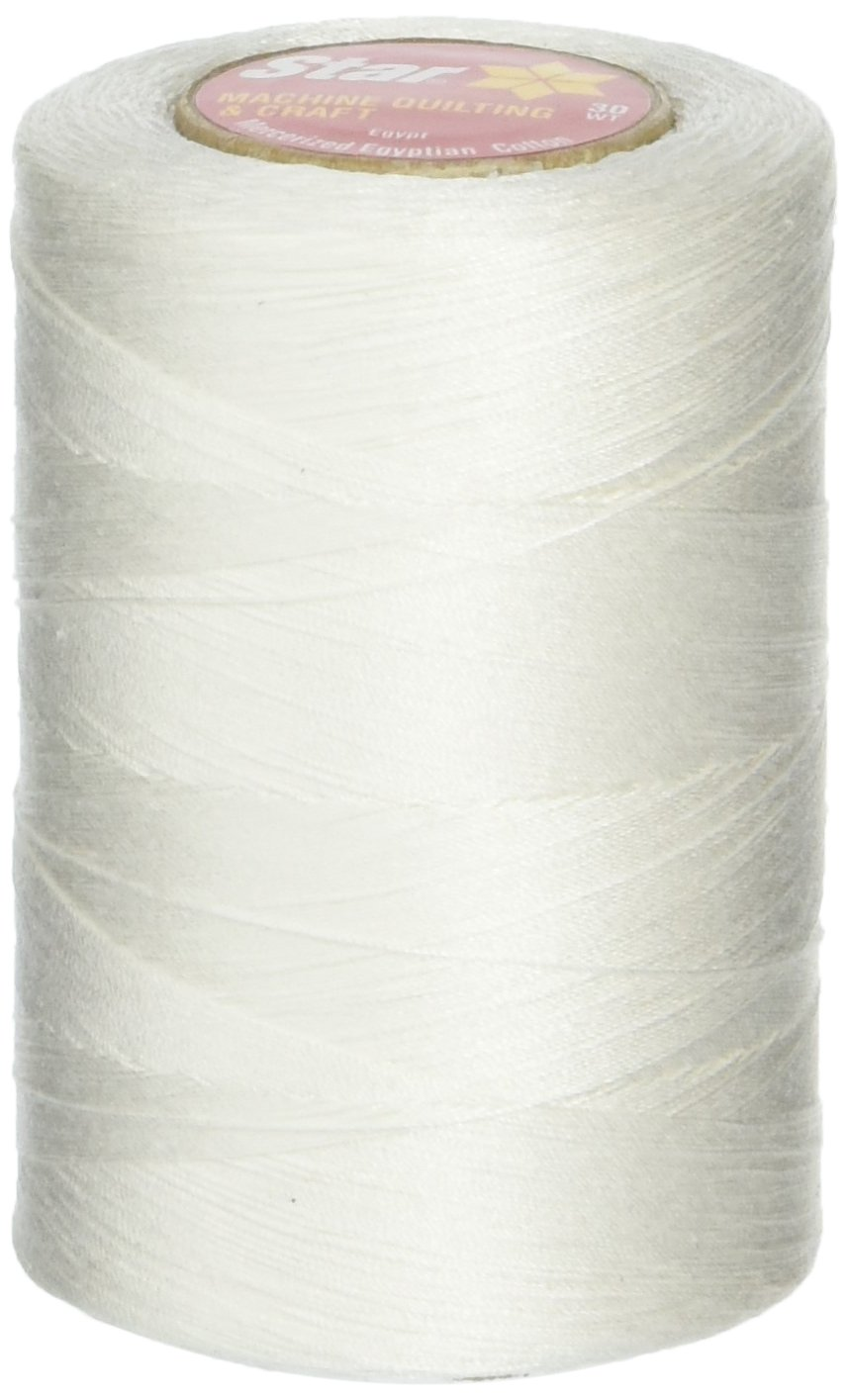 Coats: Thread & Zippers V37-001 Star Mercerized Cotton Thread Solids 1200 Yards-White Notions - In Network