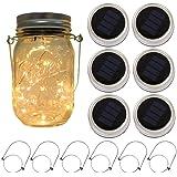 6-Pack Solar-powered Mason Jar Lights 20 LEDs (6 Hanger Included/No Jar),Warm White Glass Waterproof Fairy Hanging…
