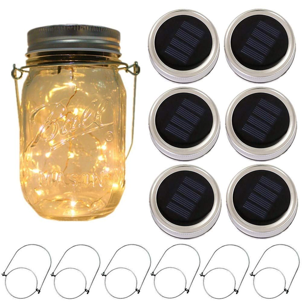 6-Pack Solar-powered Mason Jar Lights 20 LEDs (6 Hanger Included / No Jar),Warm White Glass Waterproof Fairy Hanging Lighting,Outdoor String Lids for Regular Mouth Jars for Patio Lamp Decor by CHBKT