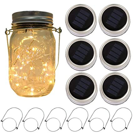 No Leds6 Hanging Lighting outdoor Hanger 6 Lids Lights String Powered Mason White Glass 20 Jar Included Jarwarm Solar Pack Waterproof Fairy For eCxrdBoW