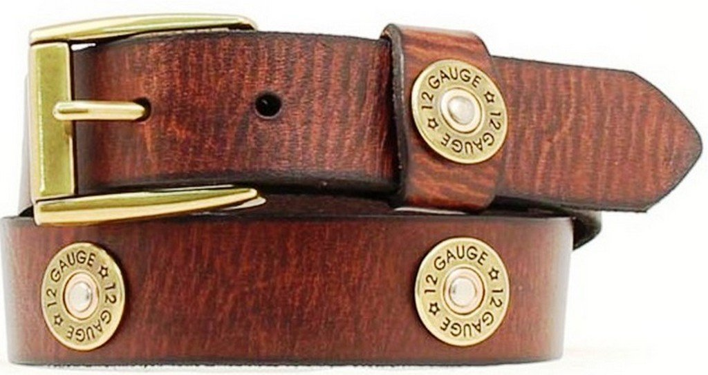 Nocona Boy's Shotgun Shell Conchos Belt, Brown, 30