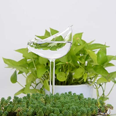 Escolourful Plant Waterer Self Watering Stakes Clear Glass Watering Bulbs Automatic Drip Irrigation Indoor Outdoor Flower Pot Waterer Tool: Garden & Outdoor