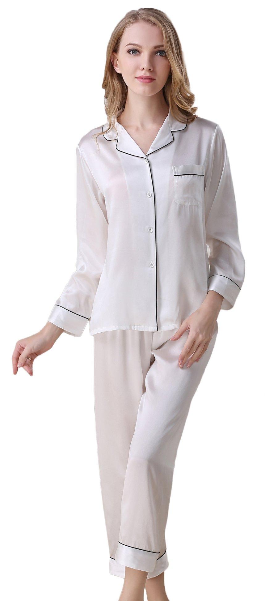 Colorful Silk Luxury Silk Pajamas Sets Homewear Beautiful Gifts White M