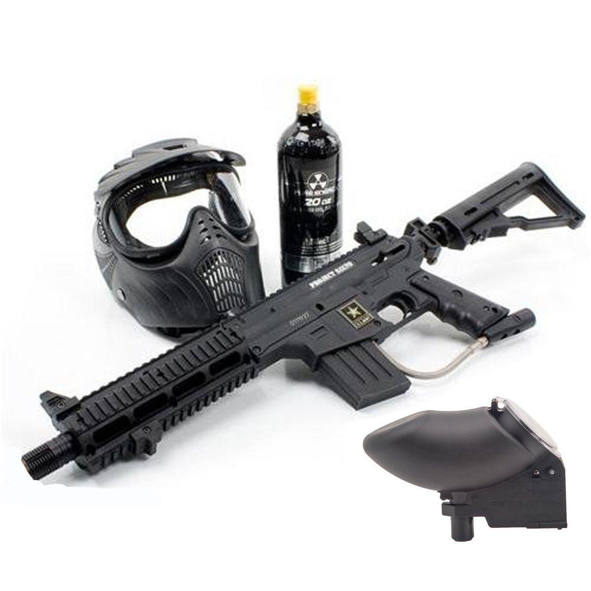 Us Army Project Salvo Revolution Mask 20oz Tank Tippmann 98 Flatline Barrel Manual Paintball Guns Sports Outdoors