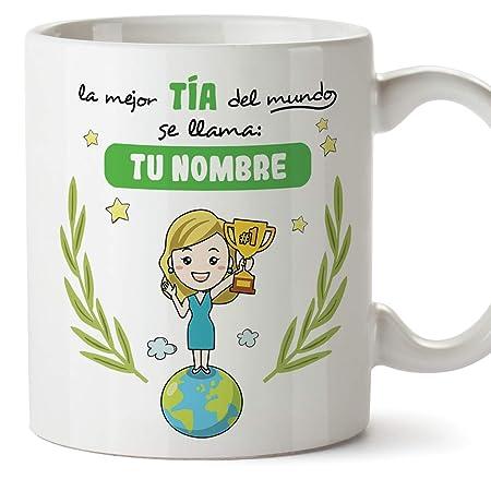MUGFFINS Tazas Tía (Personalizable con Nombre) - La Mejor tía del Mundo - Cerámica 350 ml - Taza Desayuno Personalizable/Idea Regalo Original ...