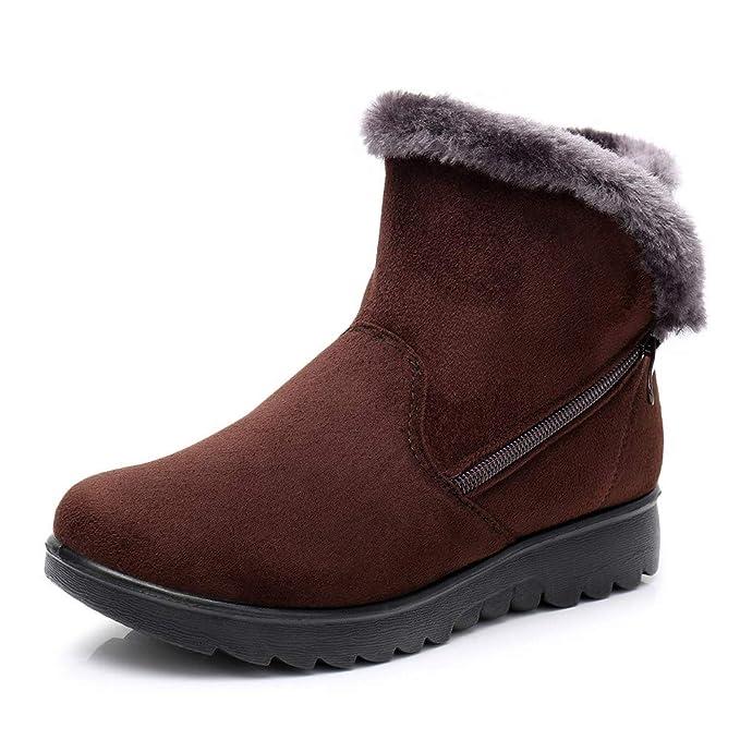 Zapatos Invierno Mujer,Mujer Botas de Nieve Casual Outdoor Aire Libre Casual Planas Zapatos Ante Botas Botines Mujer Invierno Zapatos Invierno Calientes ...
