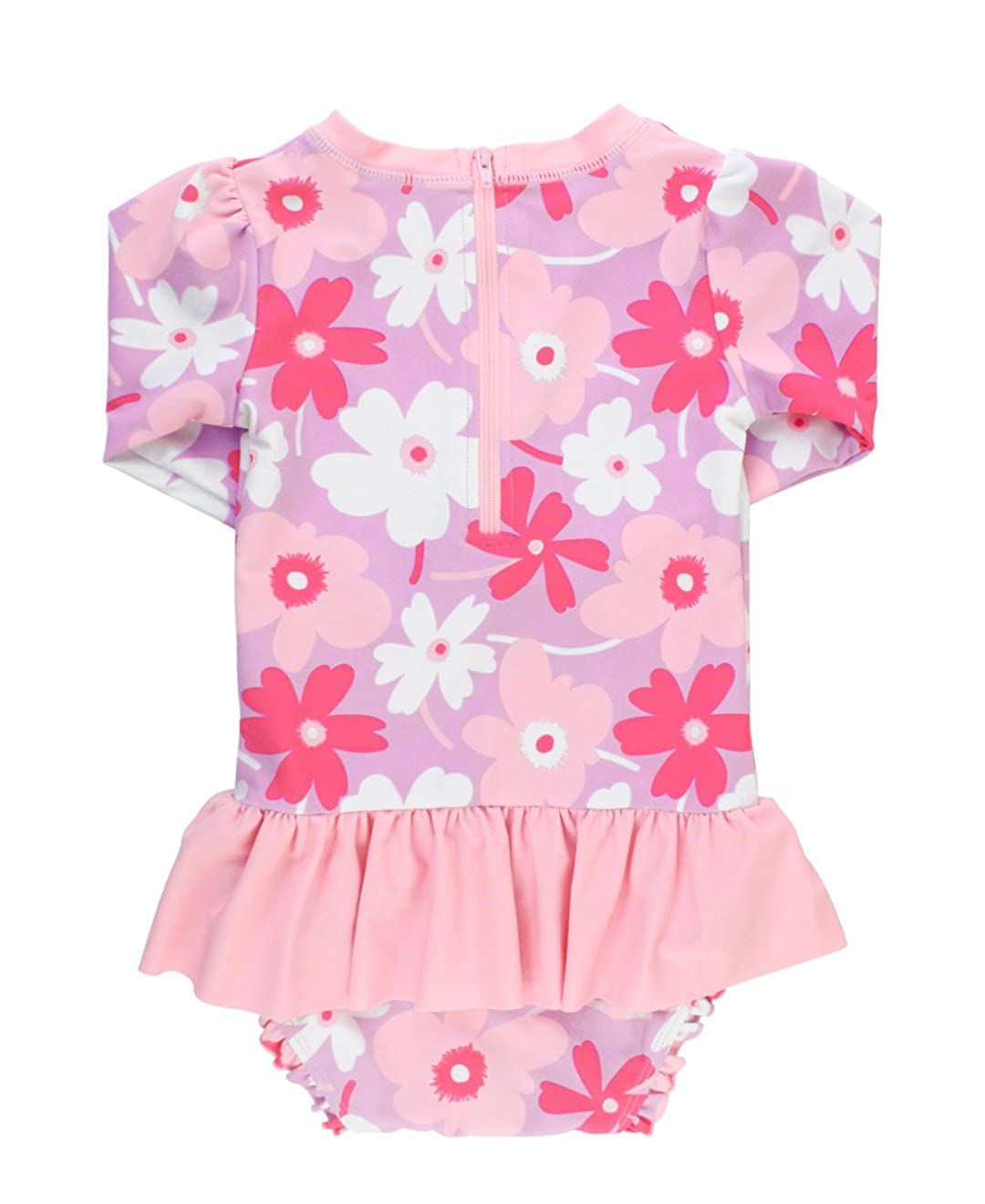 RuffleButts Baby//Toddler Girls UPF 50 Sun Protection Long Sleeve One Piece Swimsuit with Zipper
