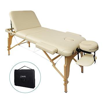 Naipo Massageliegen Massagestuhl Massagetisch kosmetikliegen Kosmetik Liegen dreifach tragbare mit Hölzernen Füßen Deluxe Pro