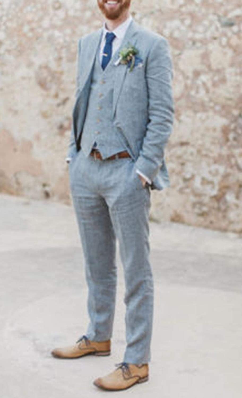 Blazer+Vest+Pants Mens Suit 3 Pieces Formal Notch Lapel Wedding Groom Groomsman Suit Slim Fit Prom Party Tuxedos