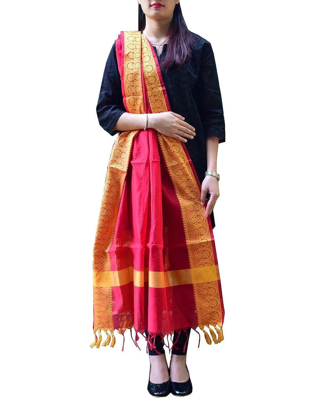 GiftPiper Cotton Silk Dupatta (Red& Yellow)