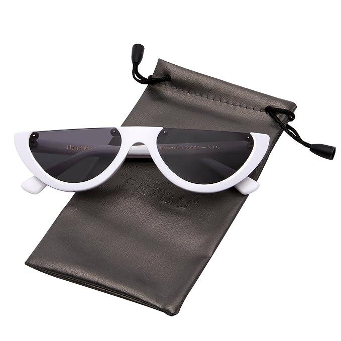 4b20b84a7c FEIDU Retro Half Round Half Frame Sunglasses for Women Modern Polarized  Unisex FD9015 (Black