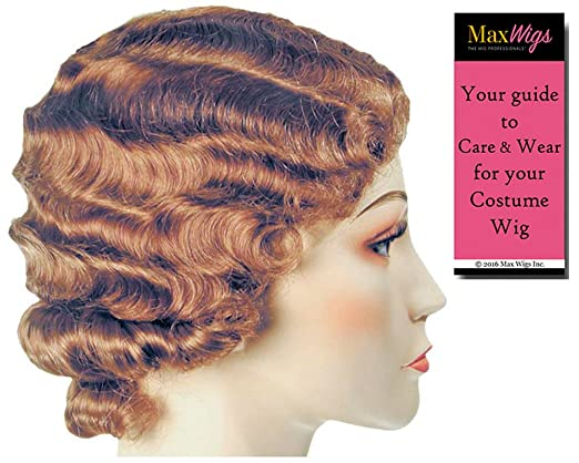 1920s Accessories | Great Gatsby Accessories Guide FingerWave Fluff Flapper Color Dark Brown - Lacey Wigs 1920s Marcel 42nd Street Theater Chicago HarlowBundle With MaxWigs Costume Wig Care Guide $36.85 AT vintagedancer.com