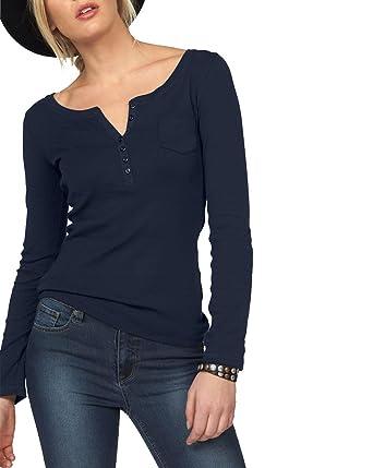 new concept 3ccdb 1c018 ELFIN Damen Langarmshirt Rundhals Leicht V-Ausschnitt Longsleeve T-Shirt  Langarm Freizeit Oberteil Elegantes Stretchbar Henley Shirt Basic Tops