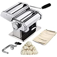HomeFast Pasta Maker Machine Hand Crank - Roller Cutter Noodle Makers Best for Homemade Noodles Spaghetti Fresh Dough Making Tools Rolling Press Kit - Stainless Steel Manual Machines