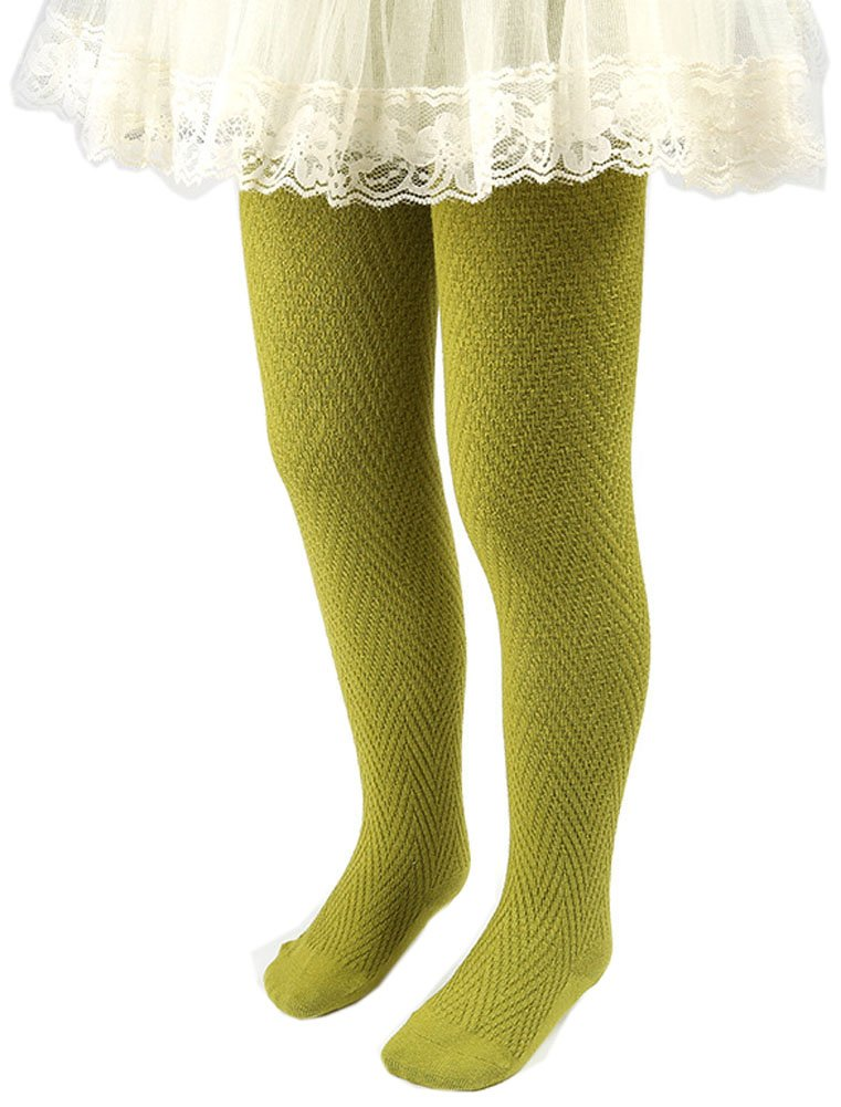 CHUNG Toddler Little Girls Cotton Footed Tights Wave Knit Soft Stretchy Multi Color, Olive, 7