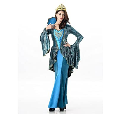 Mermaid Costume Adult Female Costume Halloween Cosplay Dress (Blue)  sc 1 st  Amazon.com & Amazon.com: Mermaid Costume Adult Female Costume Halloween Cosplay ...