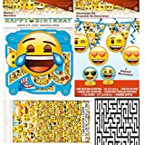 Emoji Plastic Tablecover, 1 Large Jointed Banner, and 7 Piece Decoration Kit Party Bundle - Includes 1 Maze Game Activity Card by ClassicVariety
