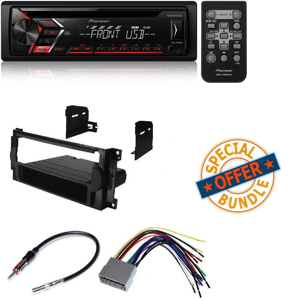 Pioneer DEH-S1000UB CD Single DIN Car Stereo Receiver CAR CD Stereo Receiver Dash Install MOUNTING KIT + Wire Harness + Radio Antenna Adapter for Chrysler + Dodge + Jeep 2004-2008