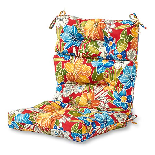 Greendale Home Fashions Indoor/Outdoor High Back Chair Cushion, Aloha Red