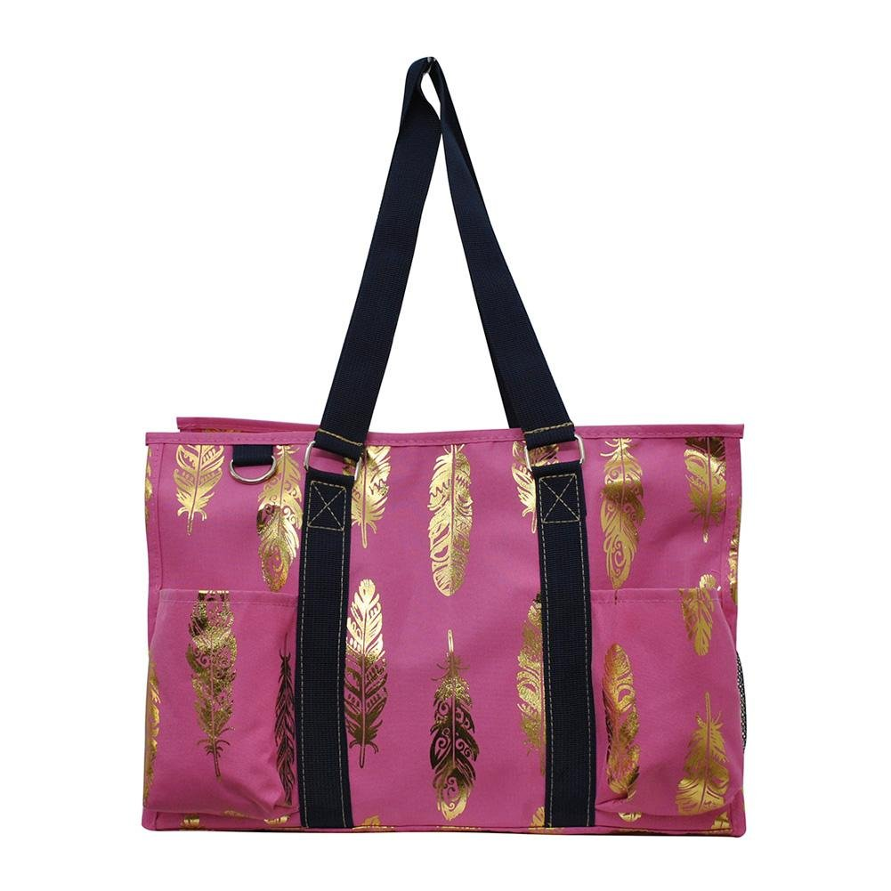 NGIL All Purpose Organizer Medium Utility Tote Bag 2018 Spring Collection (Gold Feather Pink)