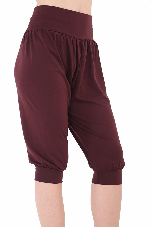 Ladies Plus Size Ali Baba Baggy Stretch Fit Shorts Womens Plain Cropped Harem Trouser Pants 8-26