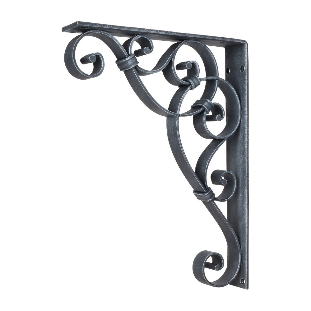 Home Decor MCOR9-SIM Metal Bar Bracket Scrolled with Knot Detail Corbel