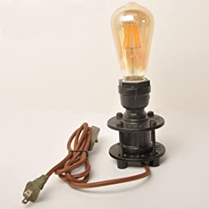 Decoluce Vintage Industrial Table Pipe Desk Lamp Retro Loft Rustic Steampunk Iron Without Edison Bulb,Antique Desk Lamps Bedside Living Room Bedroom Home Decor with Switch