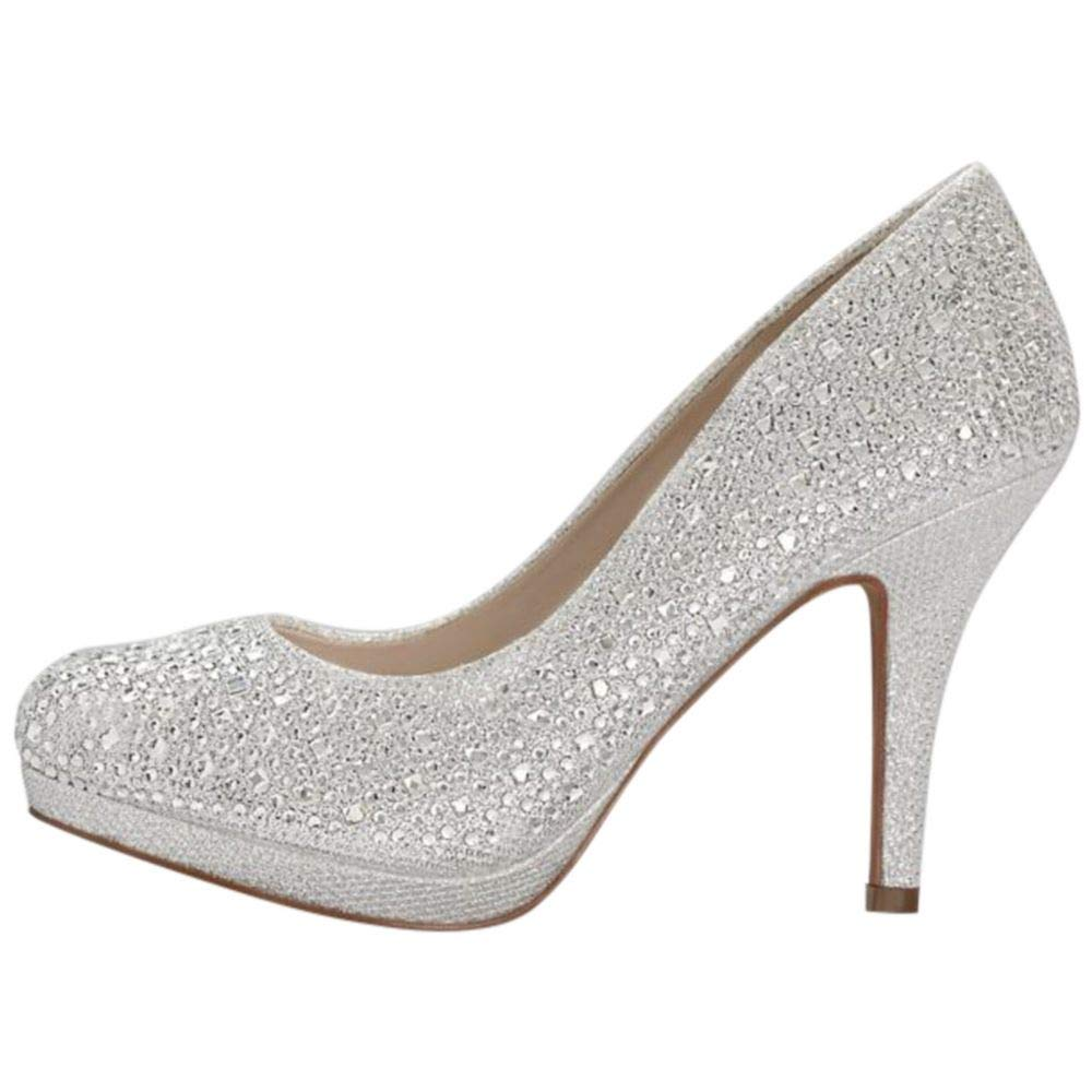 Round Toe Low Heel Crystal Pumps Style REMI, Silver, 9 in
