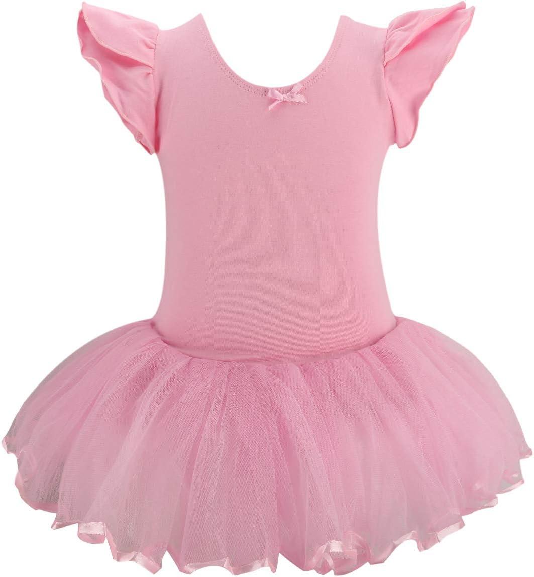Bosowos 女の子用 レオタード ラッフル 半袖 チュチュ スカート 体操 バレエ ダンスウェア 子供 小さな女の子用 ピンク 4T