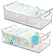 mDesign Wide Storage Organizer Container Bin with Handles for Kids/Child Supplies in Kitchen, Pantry, Nursery, Bedroom, Playroom - Holds Snacks, Bottles, Baby Food - BPA Free, 16  Long, 2 Pack - Clear
