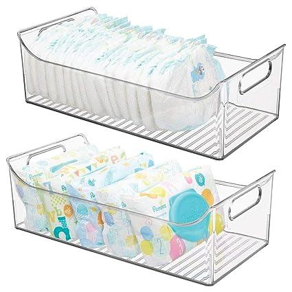 mDesign Juego de 2 cestas organizadoras para cuarto de bebé – Contenedor plástico grande con prácticas